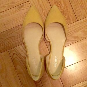 Yellow suede Starship Nine West flats